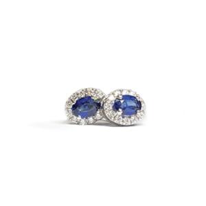 Orecchini ovali con zaffiri e diamanti