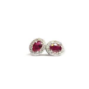 Orecchini ovali con rubini e diamanti