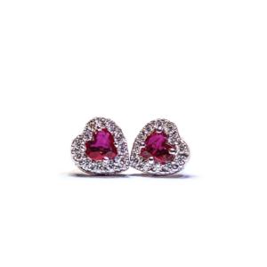 Orecchini a forma di cuore con rubini e diamanti