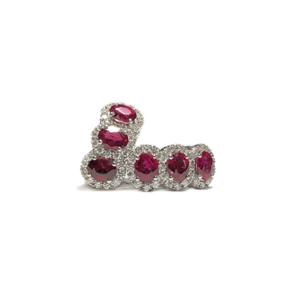 Orecchini con sei rubini e diamanti