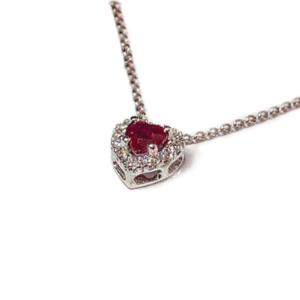 Pendente a cuore con rubino e diamanti