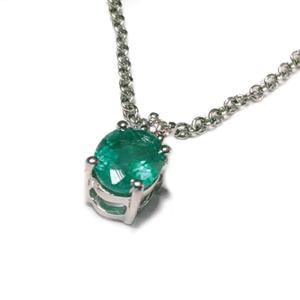 Pendente ovale con smeraldo e diamanti