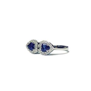 Anello con due cuori di zaffiro e diamanti