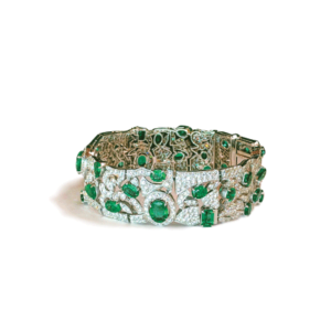 Bracciale a maglie con smeraldi e diamanti