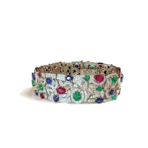 Bracciale a maglie con zaffiri, rubini, smeraldi e diamanti
