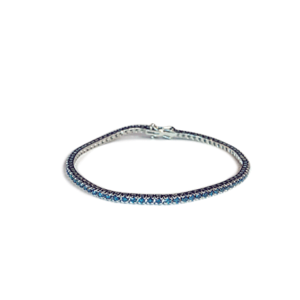 Bracciale tennis con diamanti blu