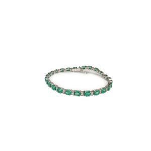 Bracciale tennis con diamanti e smeraldi
